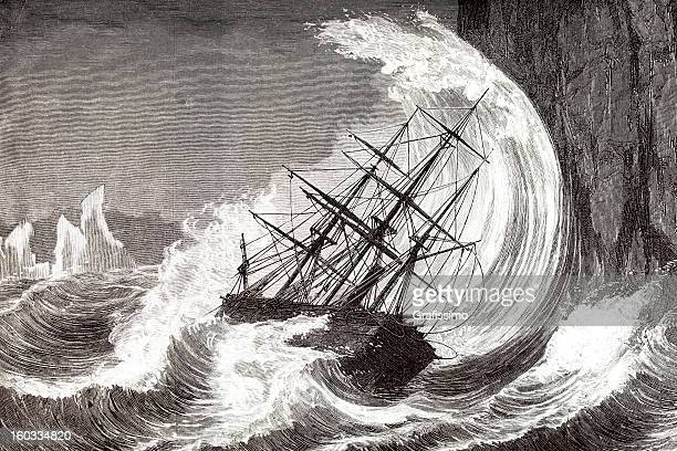 Engraving of sinking ship in a hurricane 1873