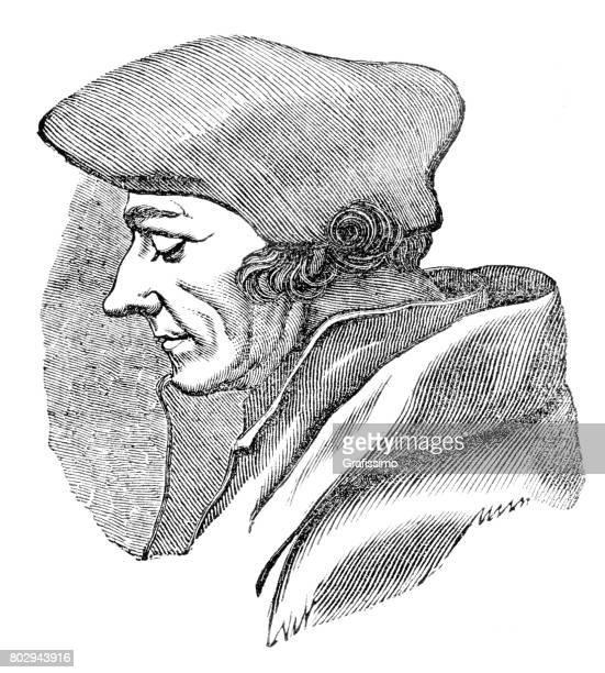 Gravure van theoloog, Desiderius Erasmus van Rotterdam, 1835
