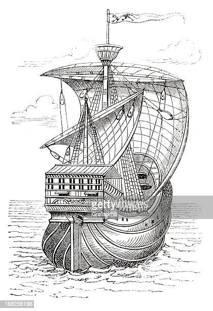Replica Santa Maria Ship Stock Illustrations And Cartoons