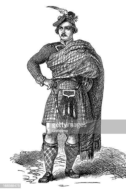 Engraving scotish man in traditional clothing from 1870