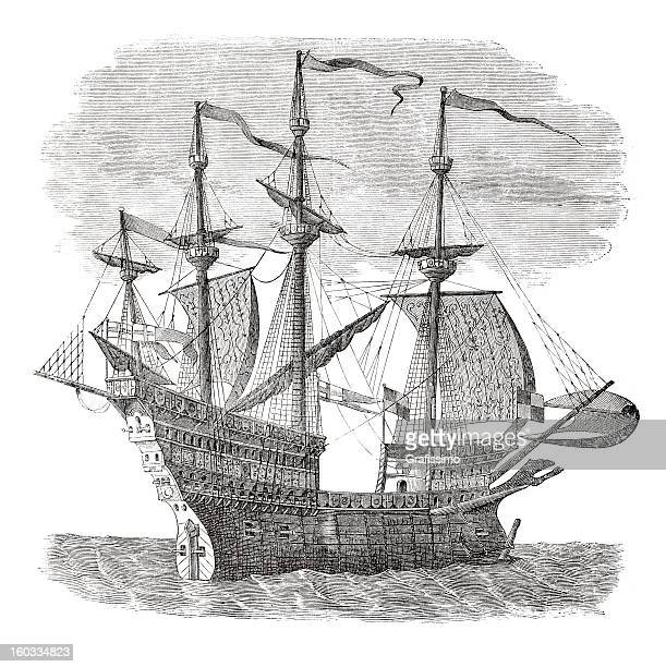 Engraving warship of king Henry VIII from 16th Century