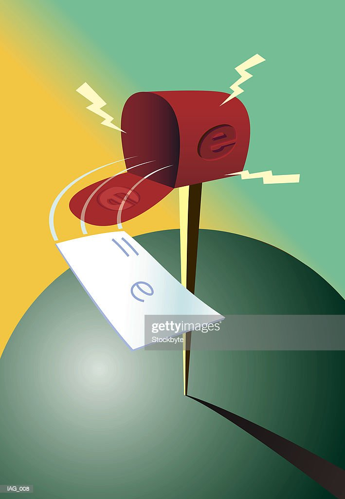 Envelope flying out of electronic mailbox : Stock Illustration