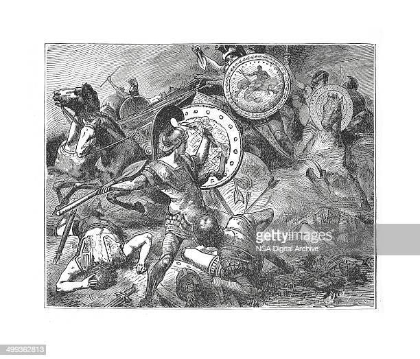 Epaminondas Rescues Pelopidas (antique engraving)