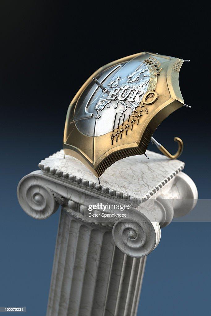 Euro coin designed umbrella on a ionic column : Stock Illustration