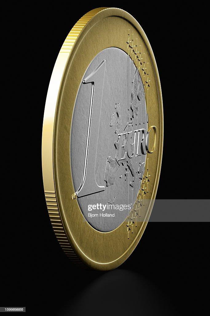 Euro Coin on black reflective background : Stock Illustration