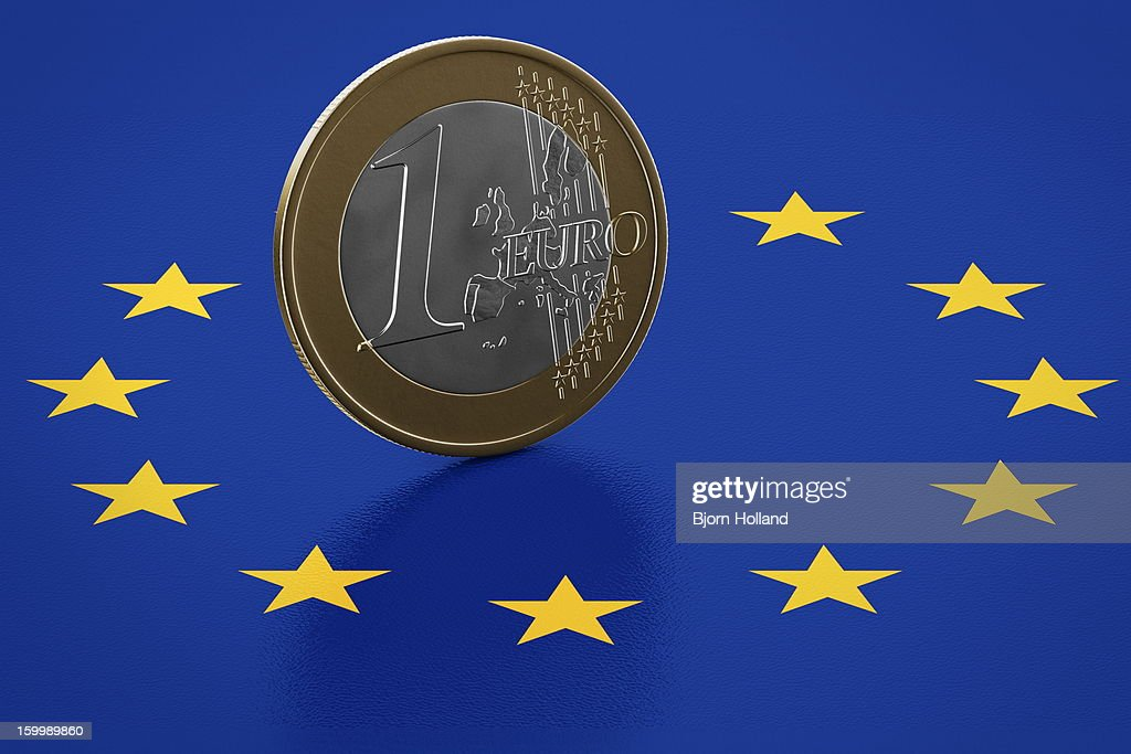 Euro Coin standing on European Union flag : Stock Illustration