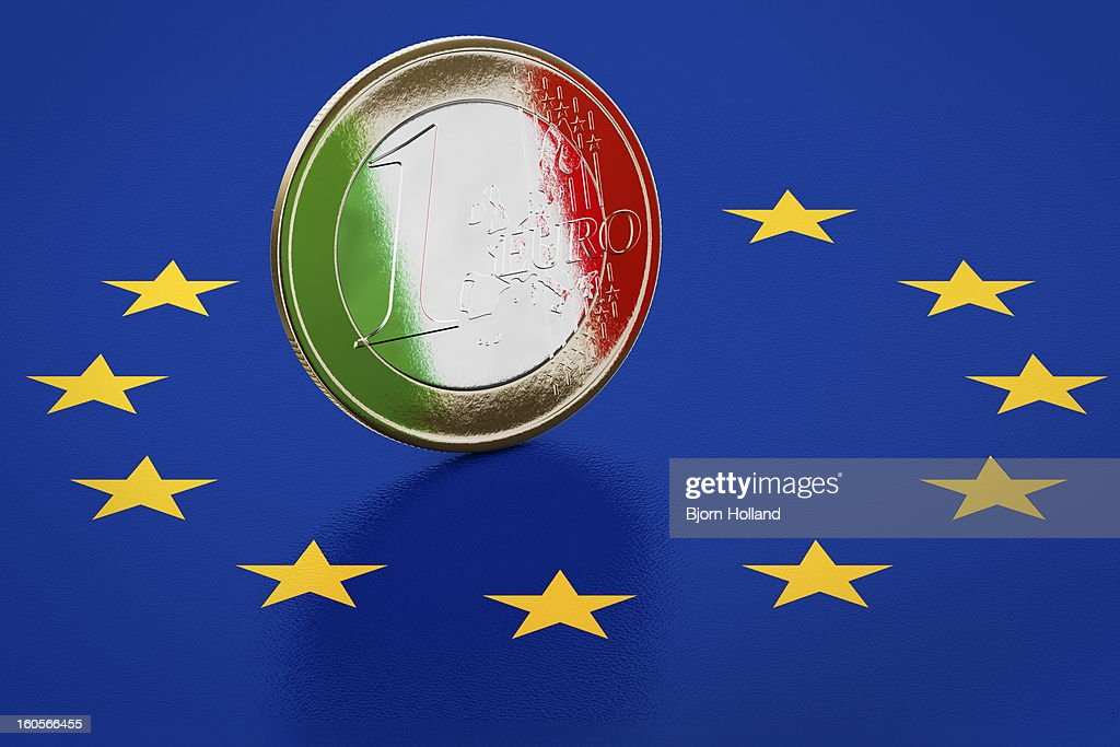 Euro coin with reflection of Italian flag : Stock Illustration