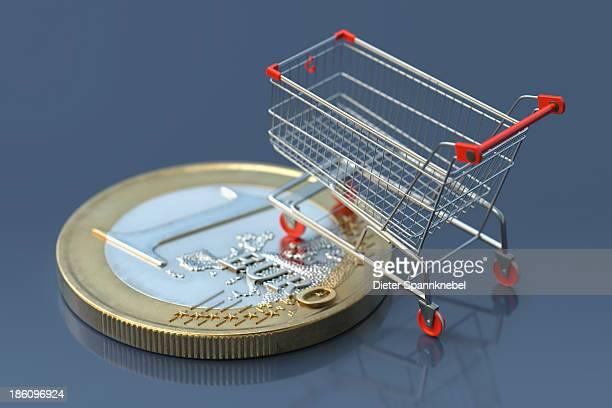Euro coin with shopping cart