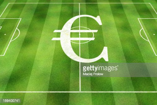 Euro currency symbol painted on soccer field : Stock Illustration