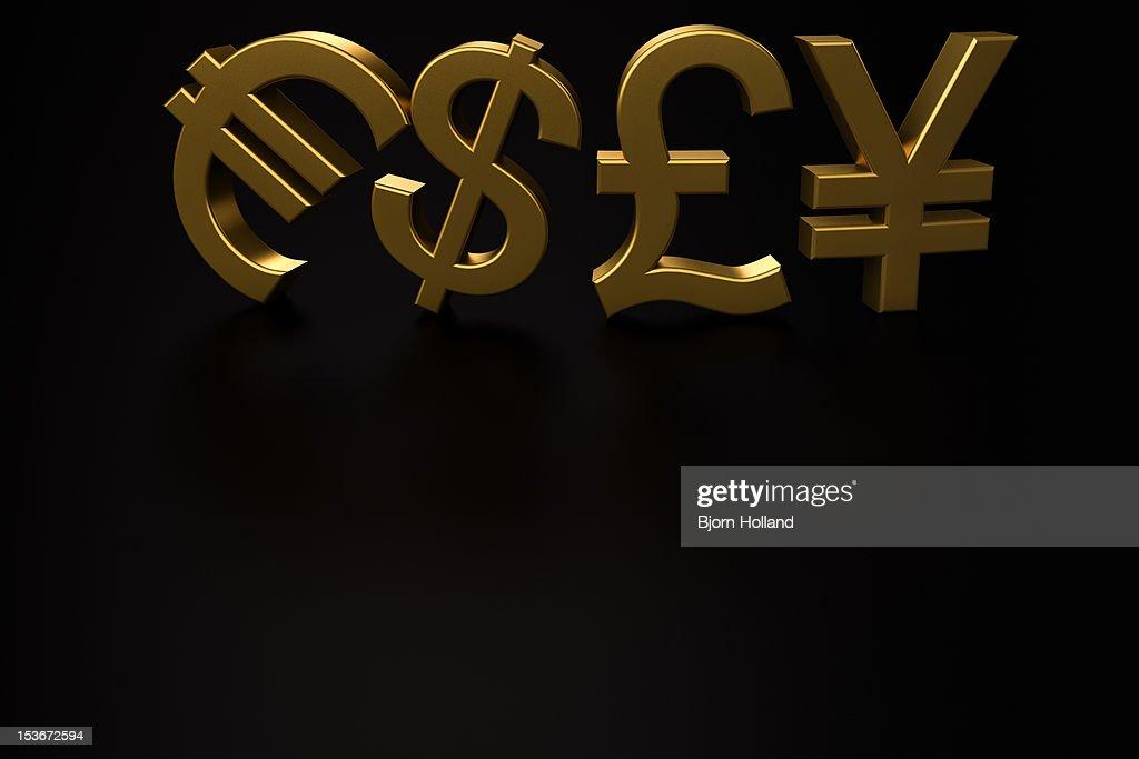 Euro, Dollar, Pound and Yen currency symbols : Stock Illustration