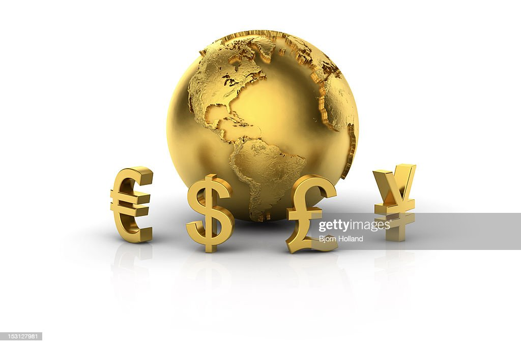 Euro, Dollar, Pound and Yen with golden globe : Ilustración de stock