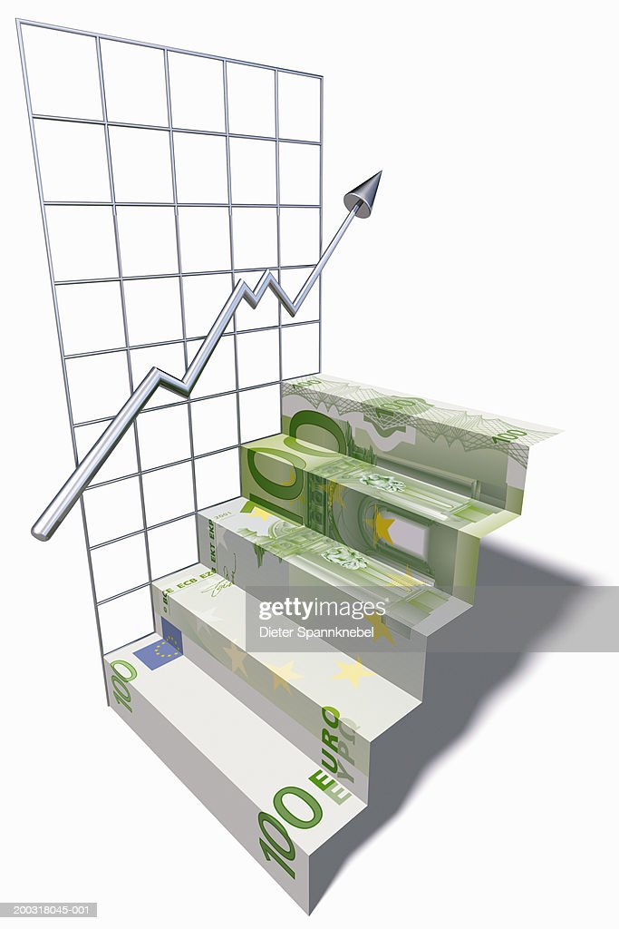 100 euro note stairs and graph (Digital) : Stock Illustration
