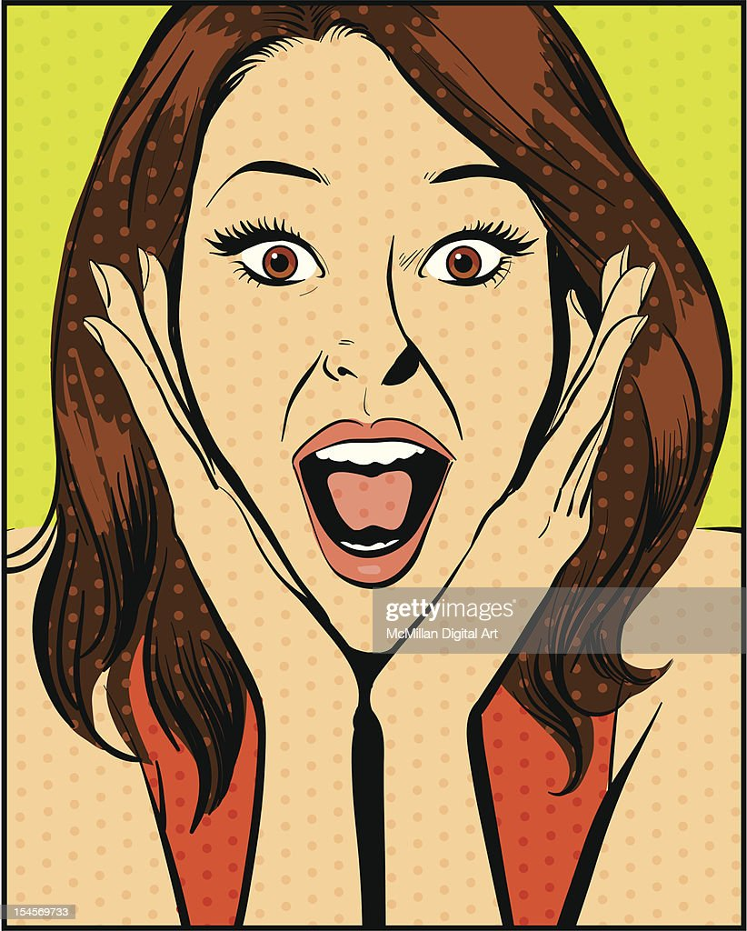 Excited woman : Vector Art