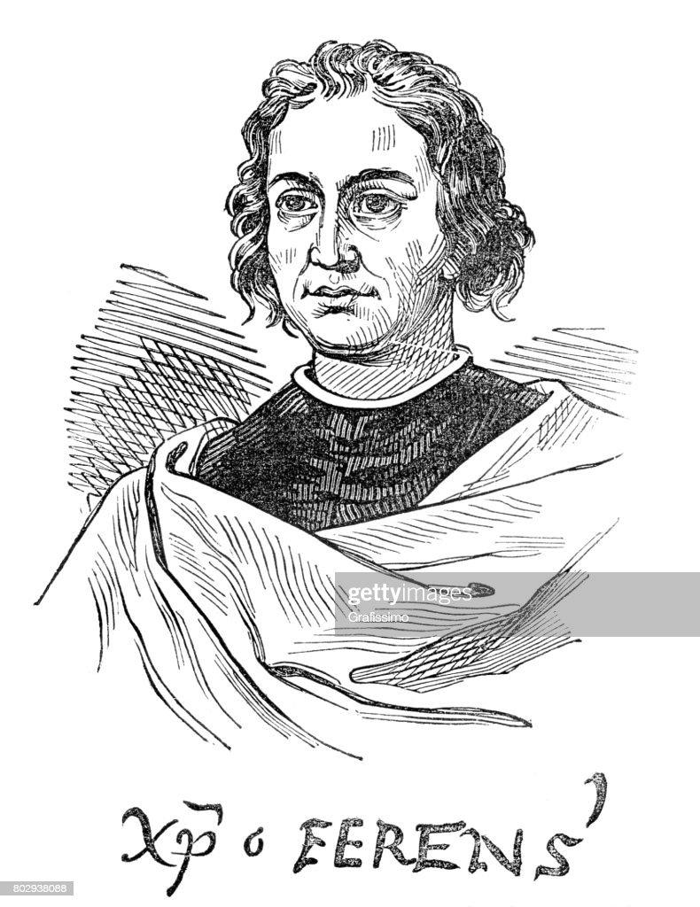 explorer christopher columbus portrait with his signature christum