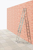 Extendable ladder against brick wall