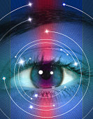 Eye surrounded by circles, close-up (Digital Composite)