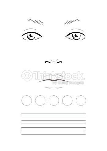 Face Chart Makeup Artist Blank Template Stock Illustration Thinkstock