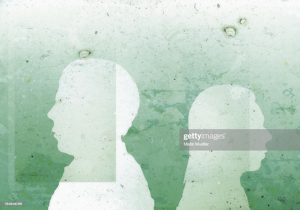 A faceless man with his back against the back of a faceless woman : Stock Illustration