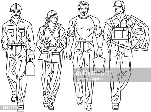 Factory Workers A Typical Day Off To Work Vector Art