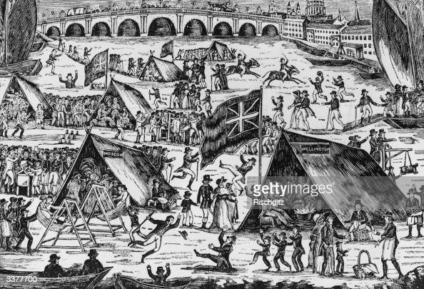 A fair on the frozen river Thames There are swings and horseraces Two large tents are labelled 'Wellington' and 'Moscow'