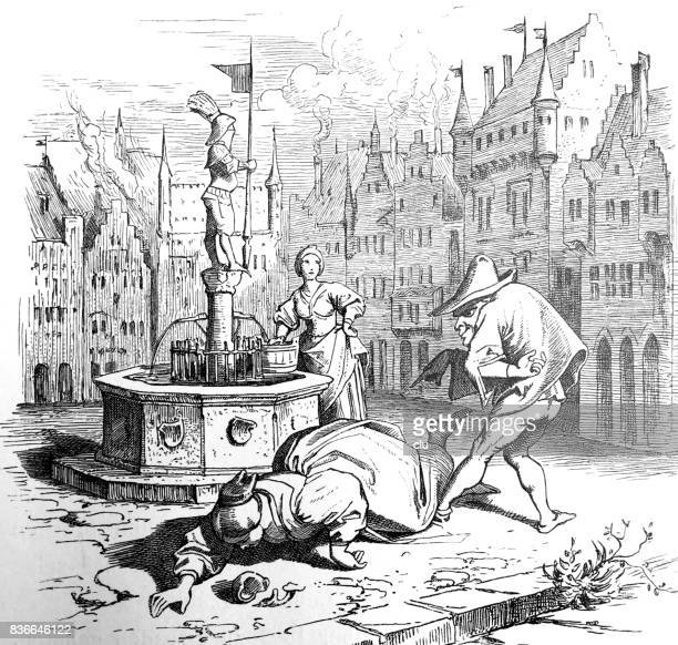 Fairy tale  Das bucklige Männlein: a humpbacked man and women a the city fountain