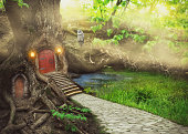 Fairy tree house in fantasy forest with stone road