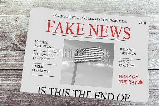 Fake News Us Concept Newspaper Front Page 3d Illustration