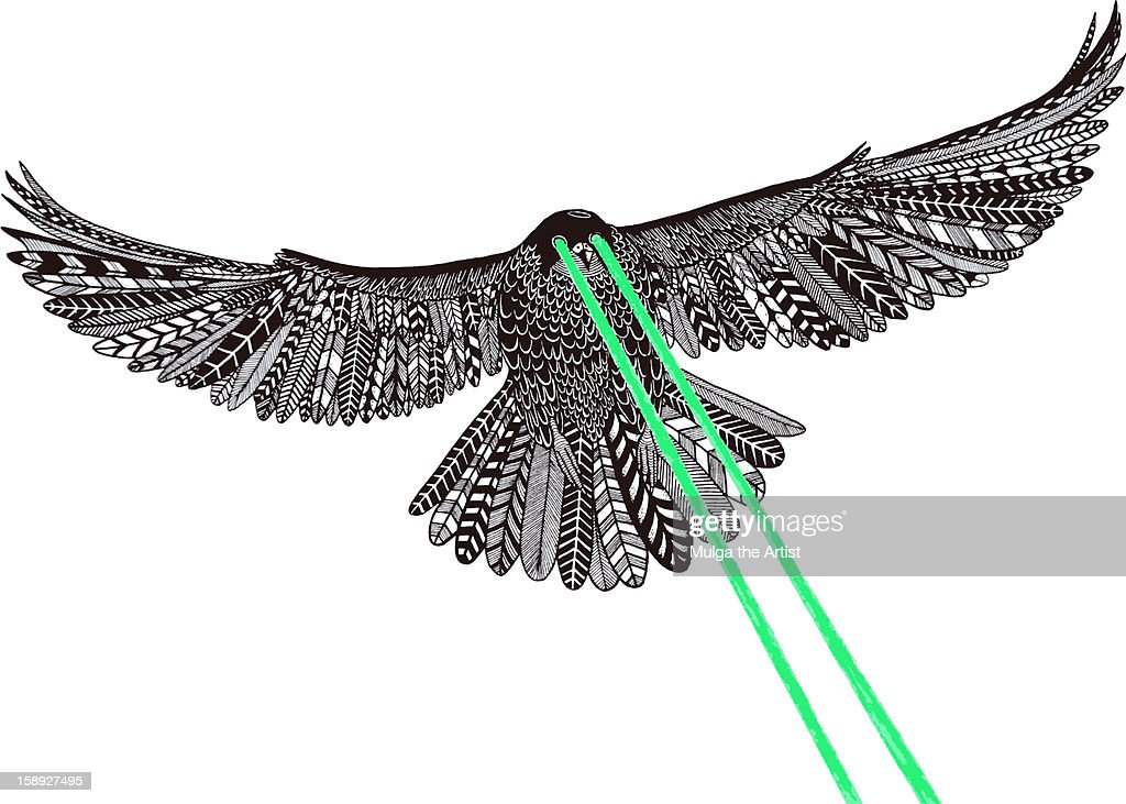 A falcon with laser beams for eyes : Stock Illustration