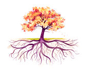"""This traditional watercolor of an Autumn tree with it's root system emphasized was painted by me, Sandy Sandy in 2009. This image lends itself to many symbolic concepts.  Notice the variety of soft,"