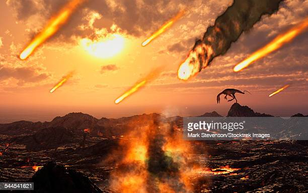 A falling asteroid and meteorites mark the end of the dinosaurs rule of the Earth.