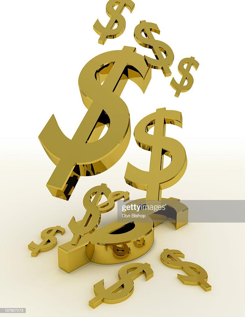 Falling gold 3D money symbols : Stock Illustration