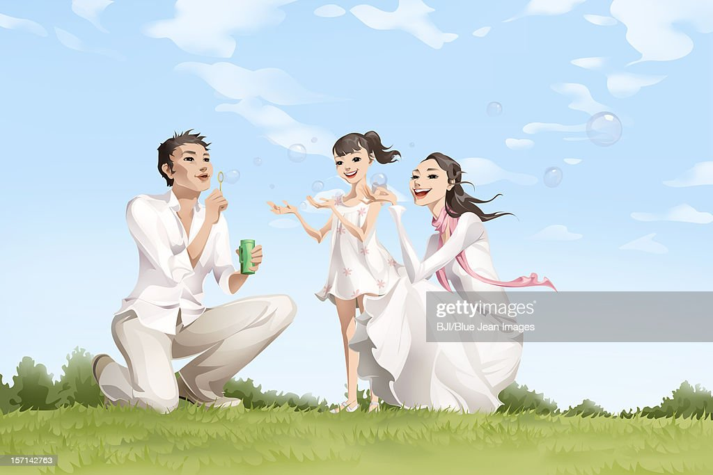 Family blowing bubbles : Stock Illustration