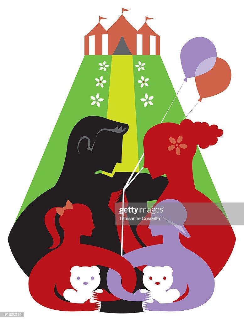 A family celebrating at a childrens festival : Stock Illustration