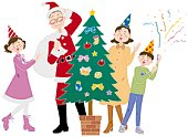 A family celebrating Christmas Day, Illustration