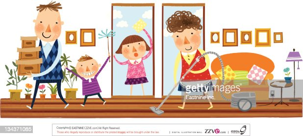 Cleaning The House family cleaning the house vector art | getty images