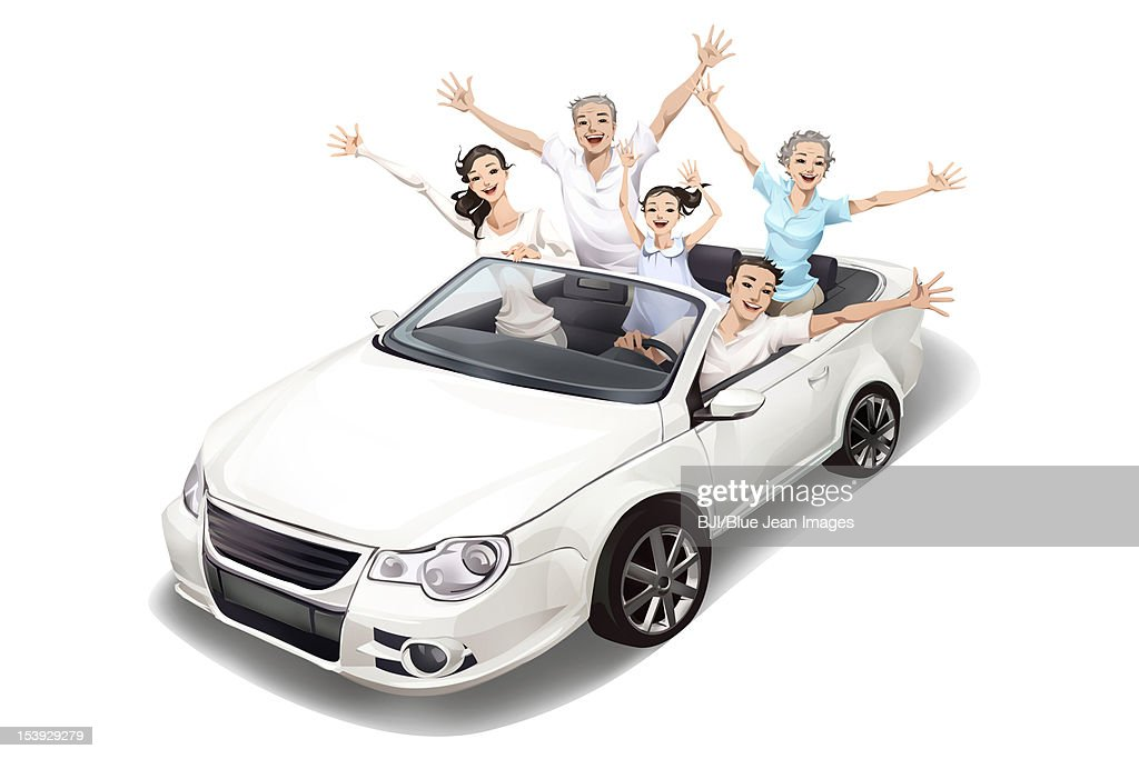 Family driving a convertible : Stock Illustration