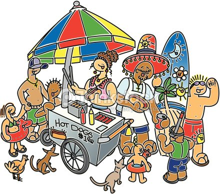 Family Fun Beach Hot Dog Stand Couple Serving To Children ...