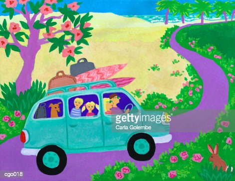 Family Going on Vacation : Stock Illustration
