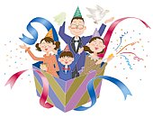 A family having a party, Illustration