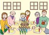 Family Having a Party, Three Generation, Illustrative Technique