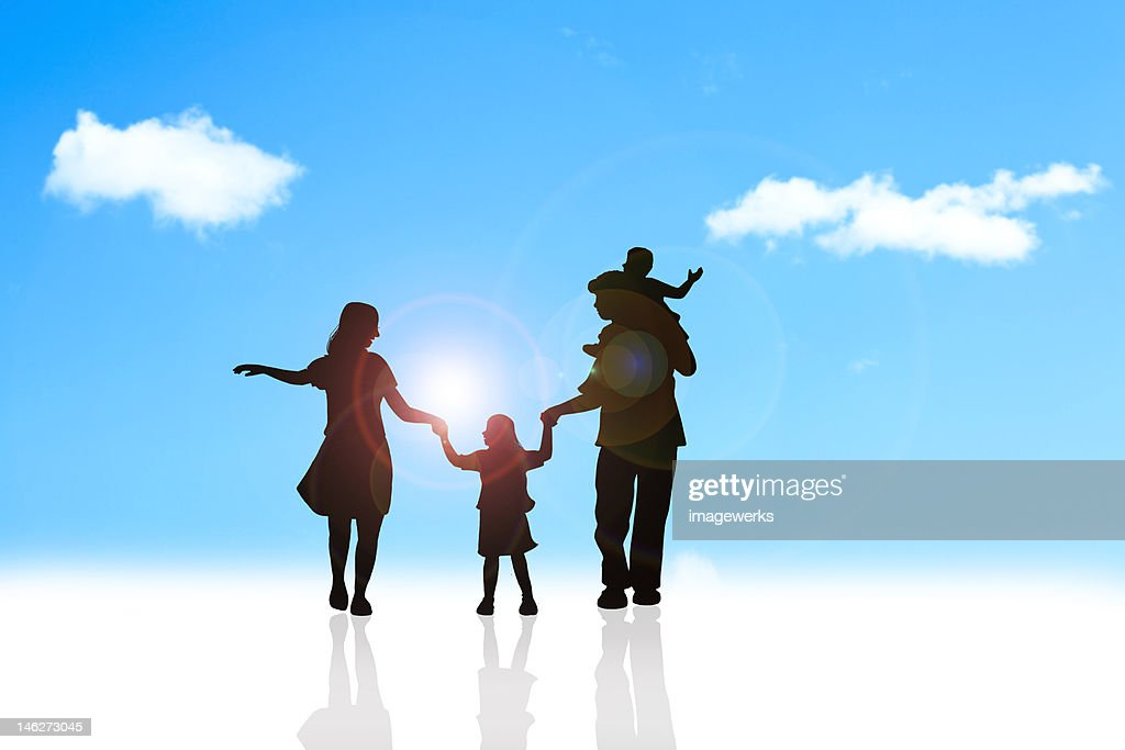 Family having fun outdoors : Stock Illustration