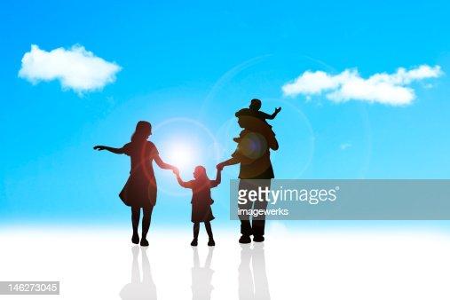Family having fun outdoors : Stock Illustration