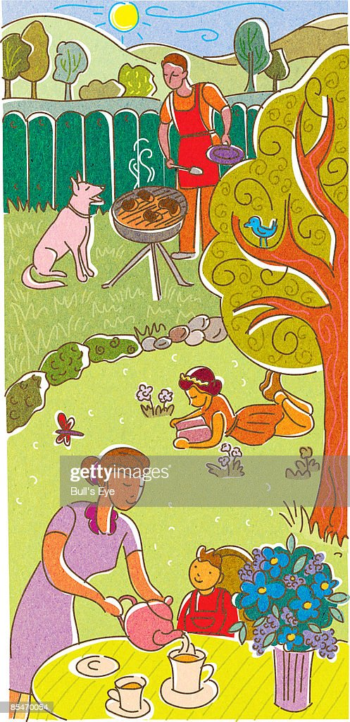 A family having tea and a BBQ in their backyard : Stock Illustration