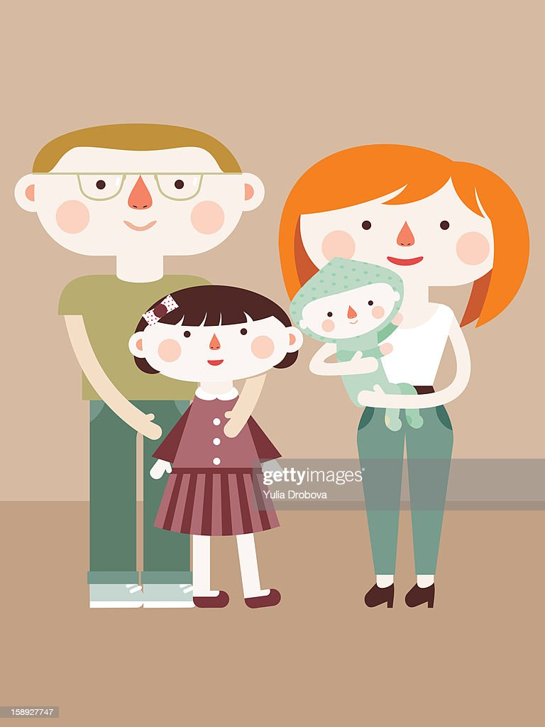 A family of four : Stock Illustration