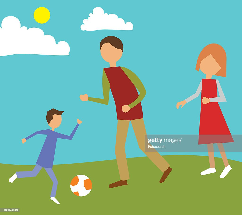 Family playing in park : Stock Illustration