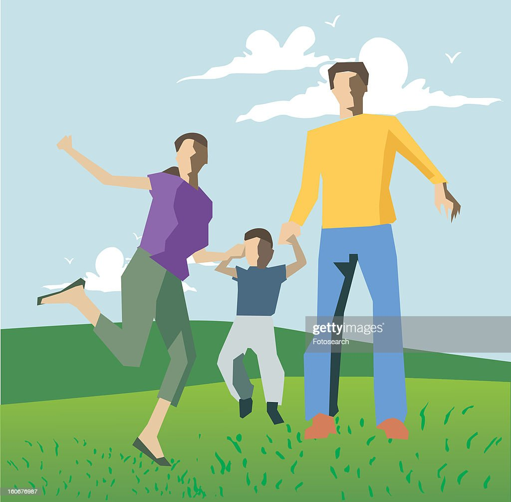 Family playing on hills : Stock Illustration