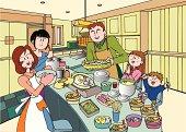 Family Preparing a Food, Illustrative Technique