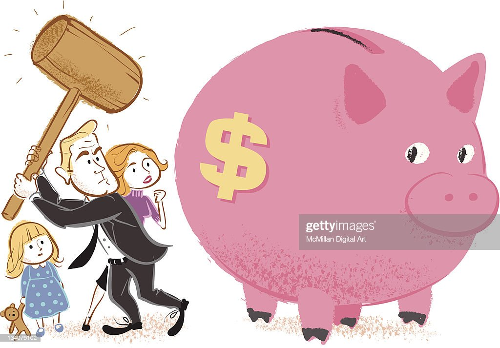 Family preparing to smash piggy bank vector art getty images - Jumbo piggy banks for adults ...