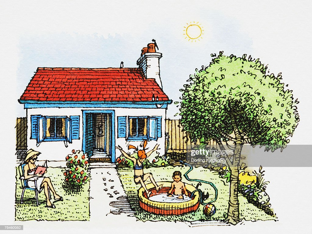 Family scene on hot summer day in garden, with children playing in paddling pool, parent reading book, and cottage-style house in background : Stock Illustration