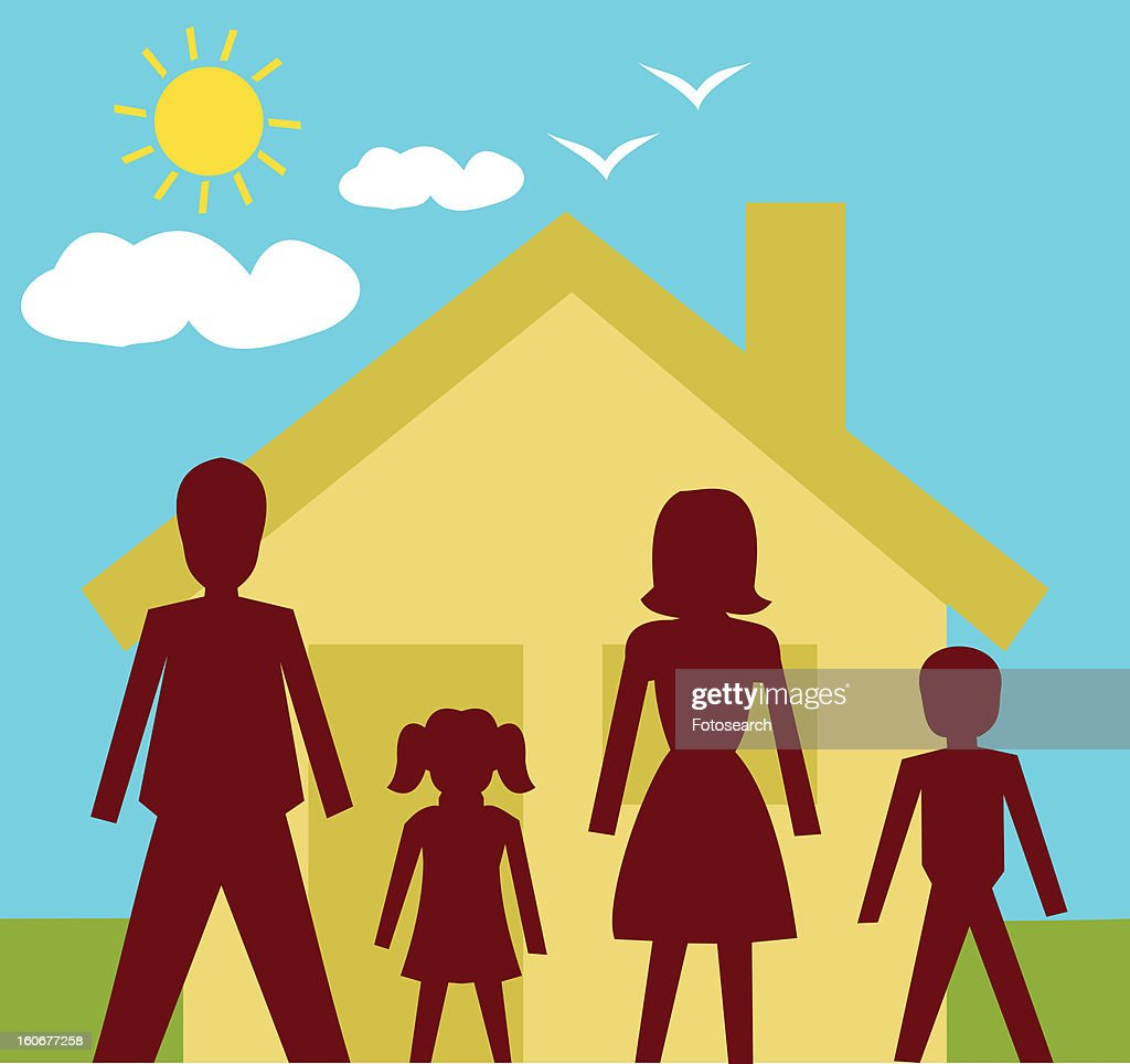 Family standing in front of a house : Stock Illustration